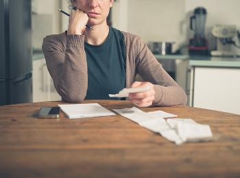 woman worried about expenses